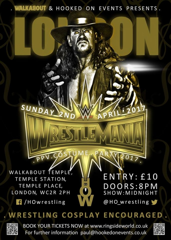 A Hooked On Events Viewing Party: WrestleMania 33 - London