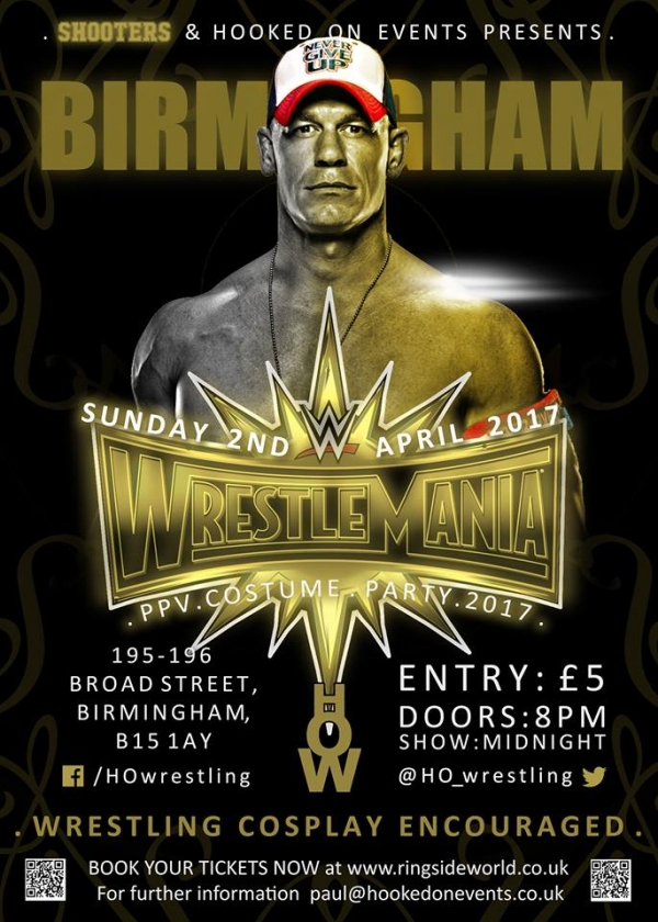 A Hooked On Events Viewing Party: WrestleMania 33 - Birmingham